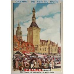 Affiche ancienne originale Bailleul  Chemin de fer du Nord - VERHEYDE