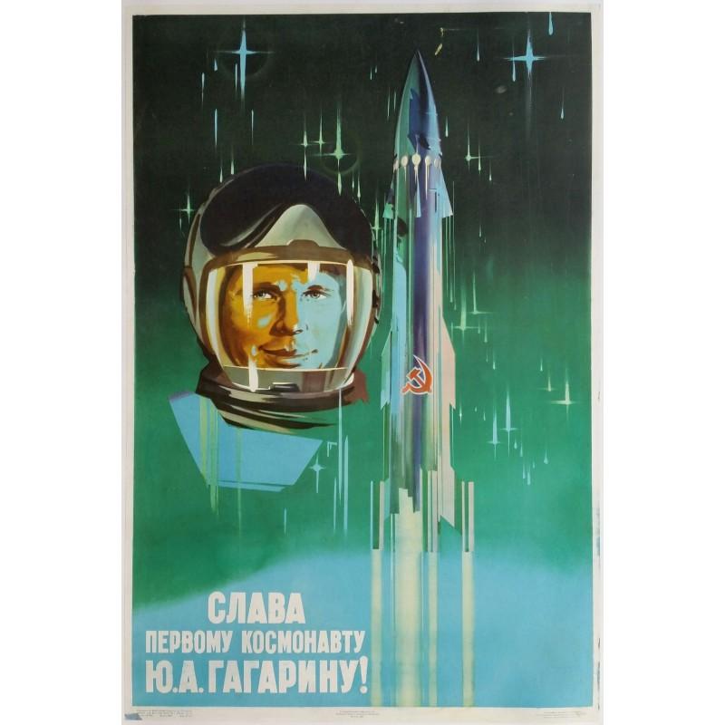 Affiche ancienne originale Russe Glory to the first cosmonaut U.A.Gagarin