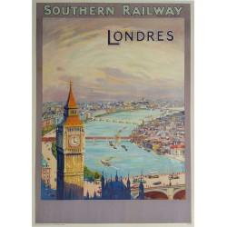 Affiche ancienne originale Southern Railway Londres - 1924