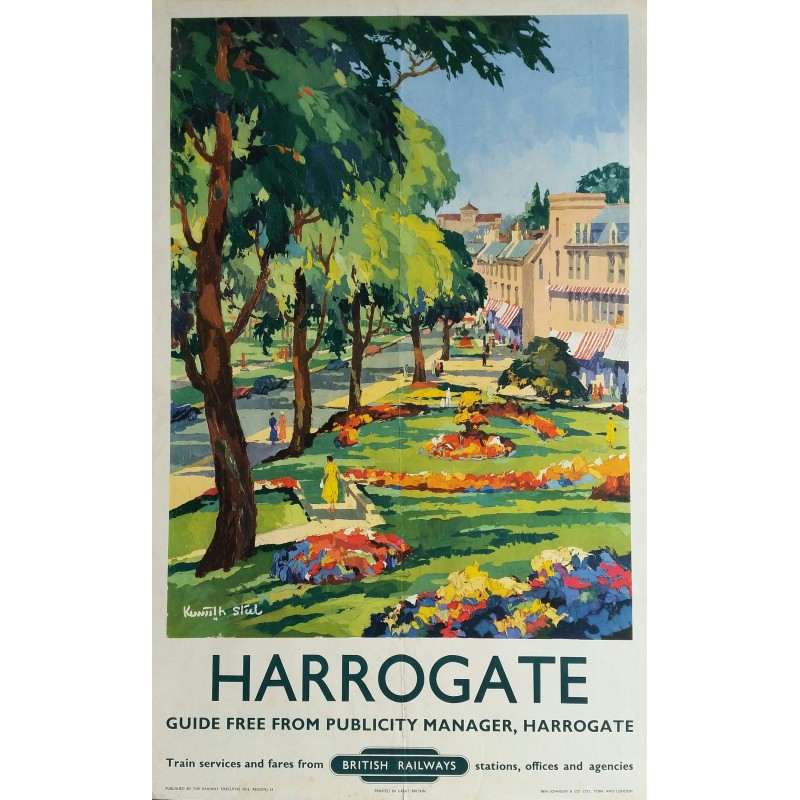 Affiche ancienne originale Harrogate british railways 1953 - Kenneth STEEL