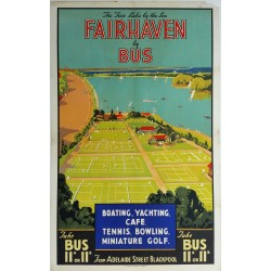 Original vintage poster Fairhaven by bus - Boating Yachting Tennis Bowling Miniature Golf