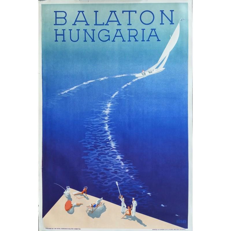 Affiche ancienne originale Balaton Hungarian circa 1936 - Andor Bánhidi