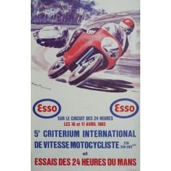 Affiche originale essais des 24 heures du Mans 10 et 11 avril 1965