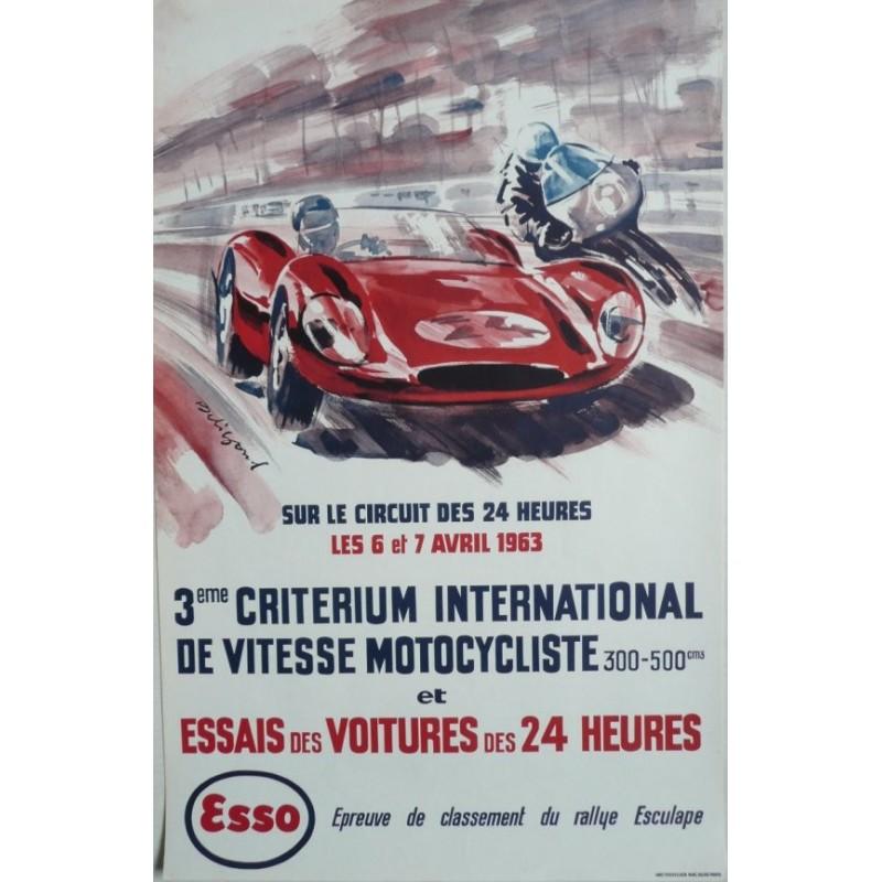 Affiche originale essais des 24 heures du Mans 6 et 7 avril 1963 - BELIGOND