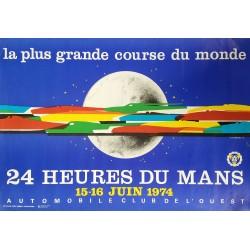 Original vintage poster 24 heures du Mans 1974 - J Jacquelin