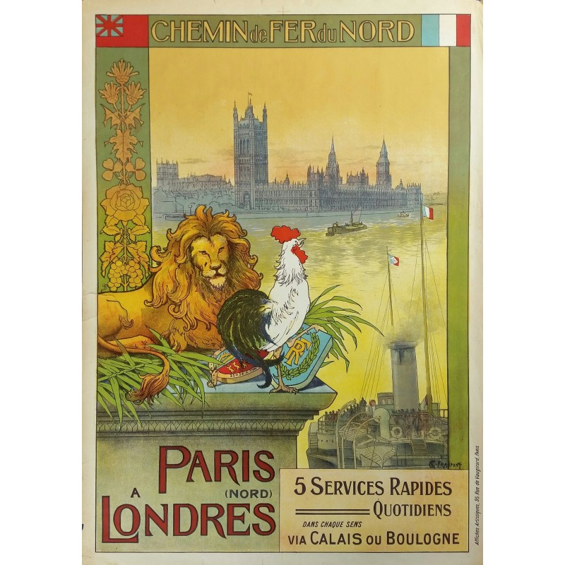Affiche ancienne originale Paris à Londres Chemin de fer du Nord - FRAIPONT