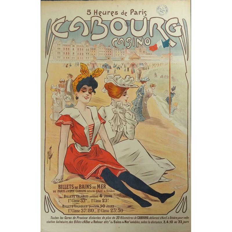 Affiche ancienne originale Cabourg Casino Billets de bains de mer - MISTI