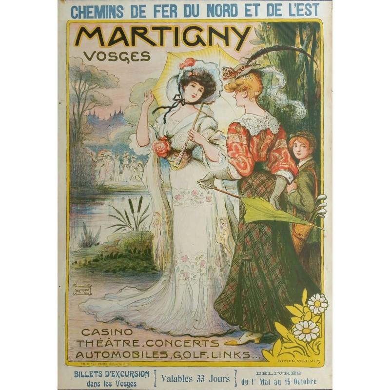 Affiche ancienne originale Martigny Vosges Chemin de fer du Nord et del'Est - Lucien METIVET
