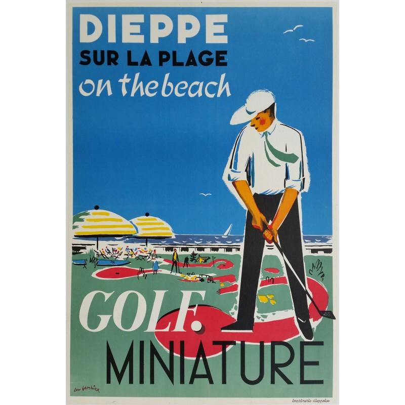 Affiche ancienne originale Dieppe Golf Miniature sur la plage on the beach - Léon GAMBIER