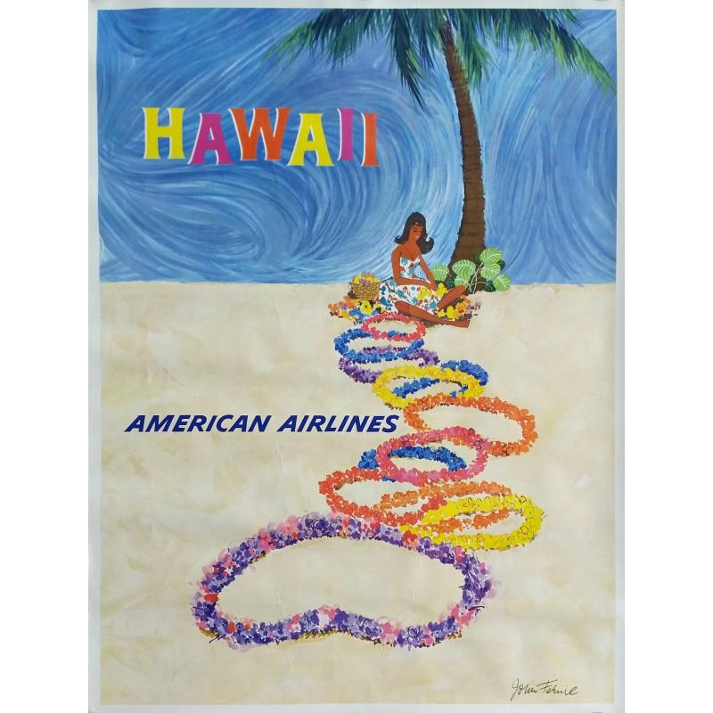 Affiche ancienne originale American Airlines Hawaii - John FERNIE