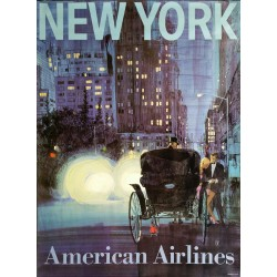 Affiche ancienne originale American Airlines New York Central Park Carriage