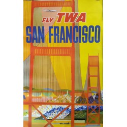 Original vintage poster Fly TWA SAN FRANCISCO with constellation plane - David KLEIN
