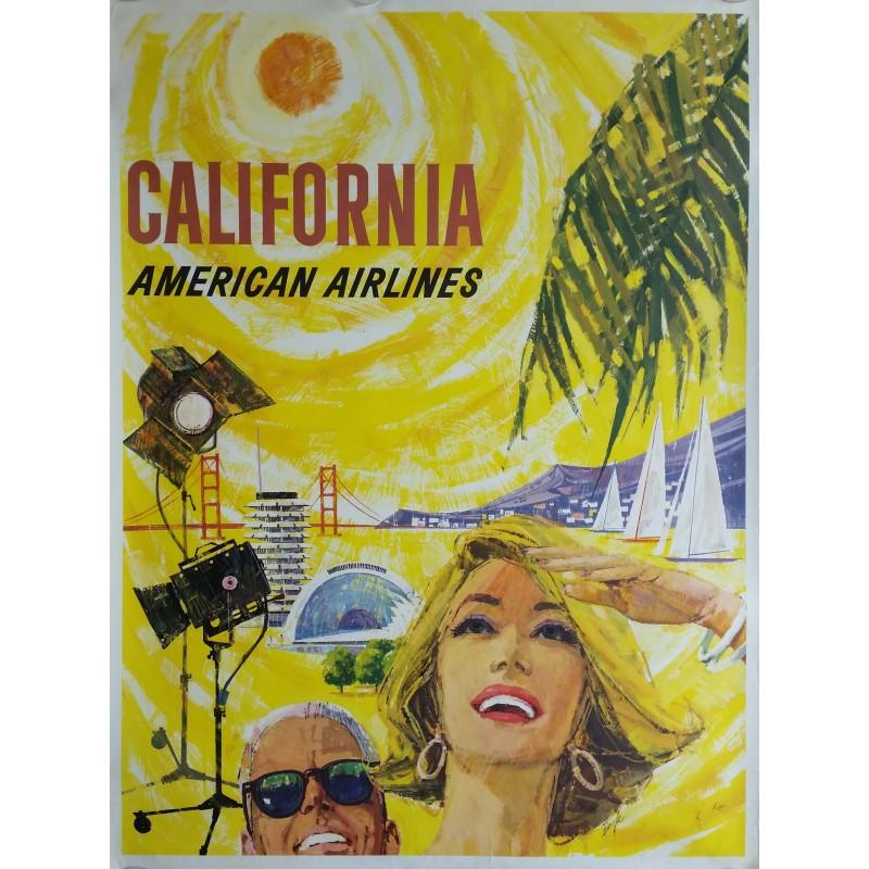 Affiche ancienne originale American Airlines California - BOYLE