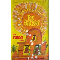 Affiche ancienne originale Fly TWA Jets LOS ANGELES - David KLEIN