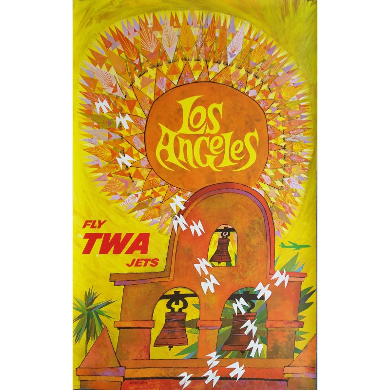 Original vintage poster Fly TWA Jets LOS ANGELES - David KLEIN