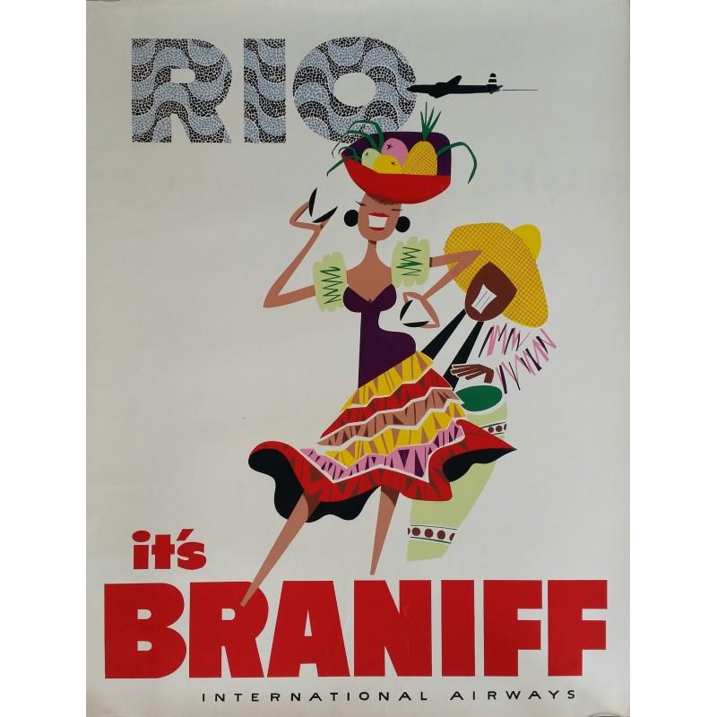 Original vintage travel poster RIO It's Braniff International Airways