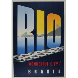 Original vintage travel poster RIO Wonderful City BRASIL - JOA