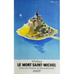 Affiche ancienne originale SNCF Visitez le Mont Saint Michel - Bernard Villemot