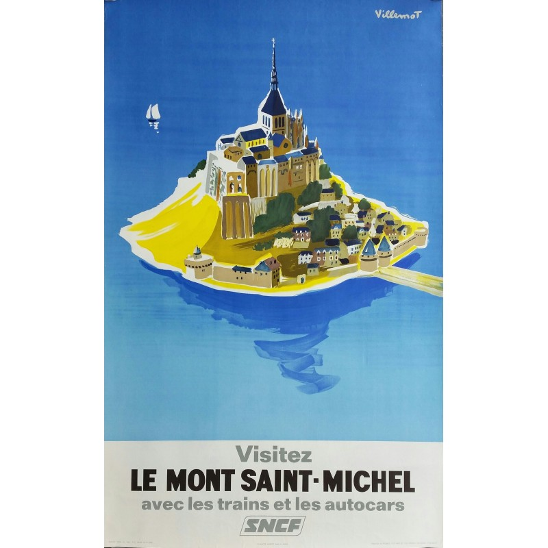Original vintage poster SNCF Visitez le Mont Saint Michel - Bernard Villemot