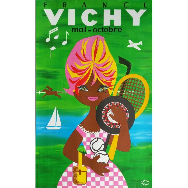 Affiche ancienne originale VICHY France Mai Octobre - LEFOR OPENO