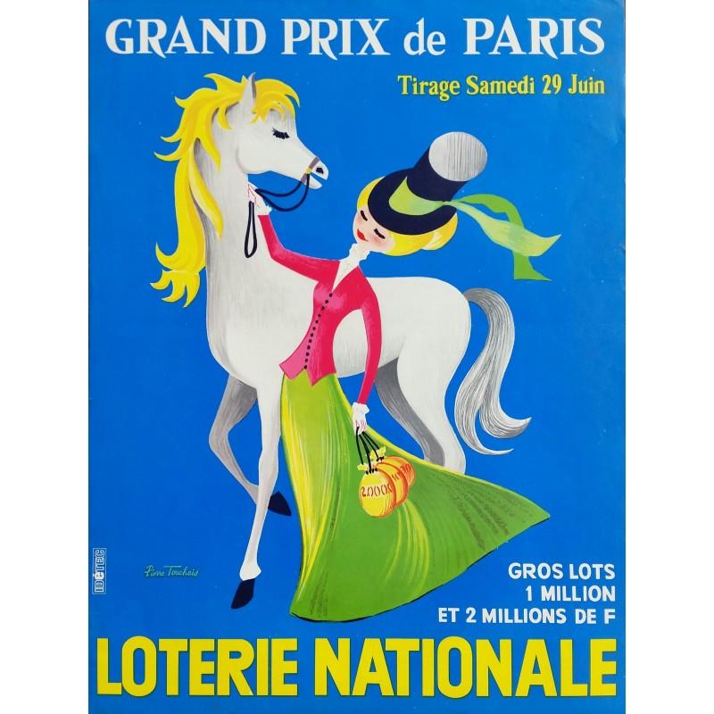 Original vintage poster Loterie Nationale 29 juin Grand Prix de Paris - Pierre TOUCHAIS