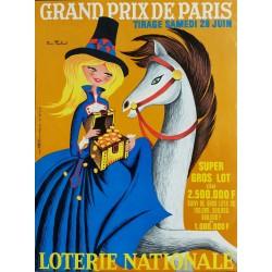 Affiche ancienne originale Loterie Nationale 28 juin 1969 Grand Prix de Paris - Pierre TOUCHAIS