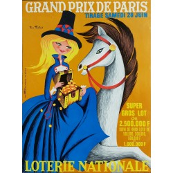 Original vintage poster Loterie Nationale 28 juin 1969 Grand Prix de Paris - Pierre TOUCHAIS