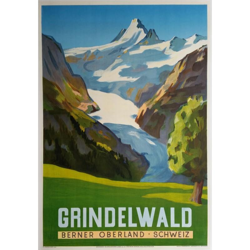 Affiche ancienne originale Grindelwald Berner Oberland Schweiz - JEGERLEHNER Hans Gordon
