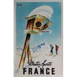 Affiche ancienne originale Winter sports in France - Jean LÉGER