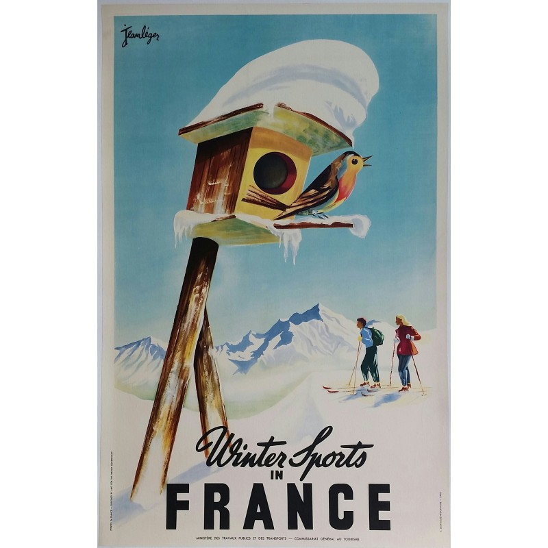 Affiche ancienne originale Winter sports in France - Jean LÉGER
