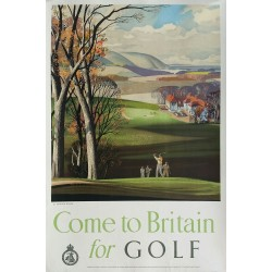 Affiche ancienne originale Come to Britain for golf - Rowland HILDER