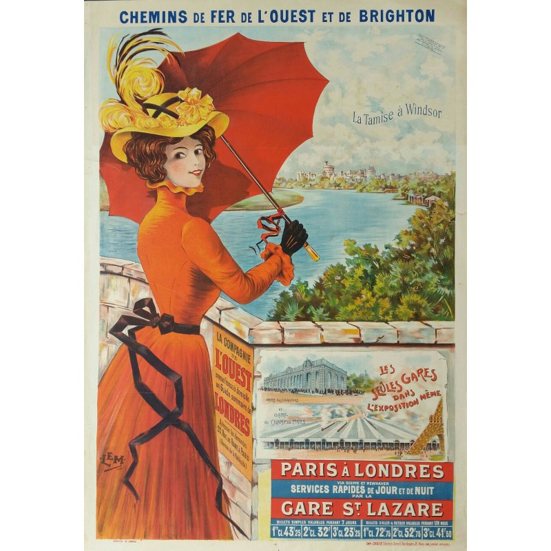 Affiche ancienne originale Paris à Londres - La Tamise a Windsor - LEM