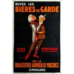 Affiche ancienne originale Bières de garde brasserie Arnould Mochez Onnaing - LE CLERCQ