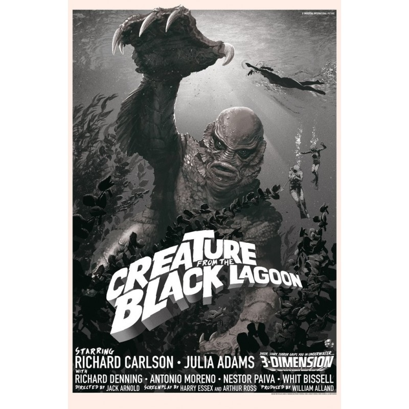 Original silkscreened poster variant limited edition Creature from the Black Lagoon - Stan & Vince - Galerie Mondo
