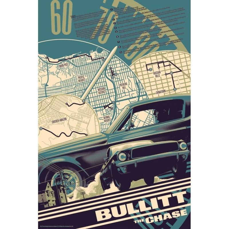 Affiche originale édition limitée variant Bullitt the chase - Matt TAYLOR - Galerie Mondo