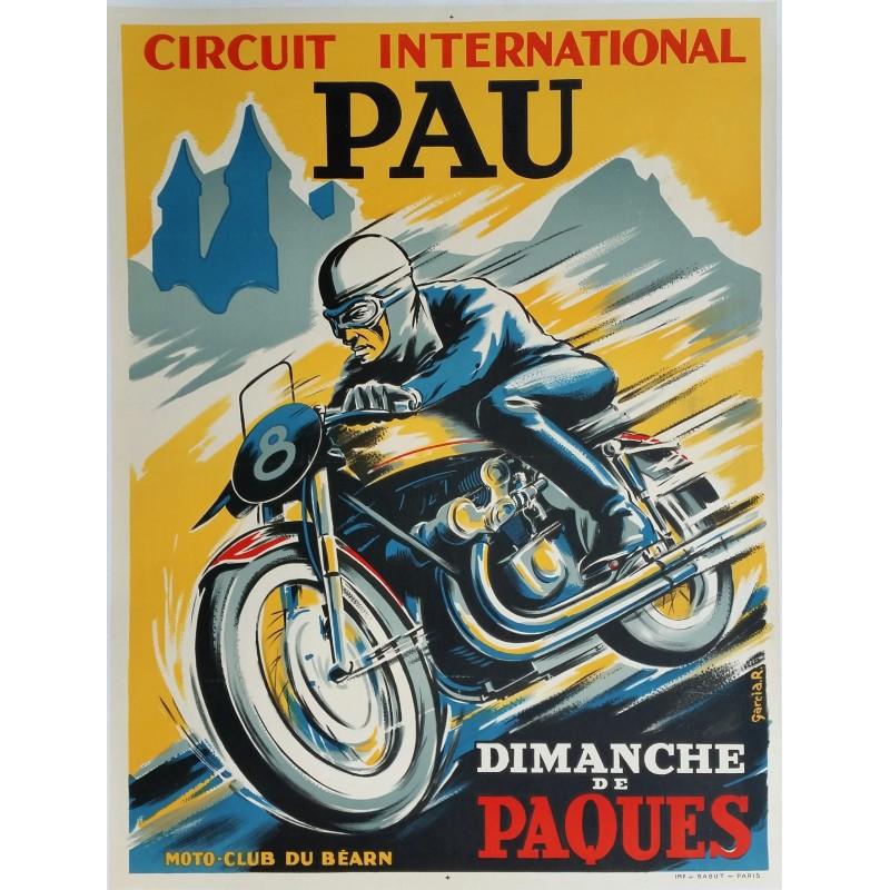 Original vintage motorcycle poster Pau Circuit International Moto club du Béarn - R GARCIA