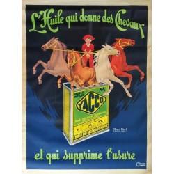 Affiche ancienne originale Yacco L'huile qui donne des cheveaux - Marcel BLOCH