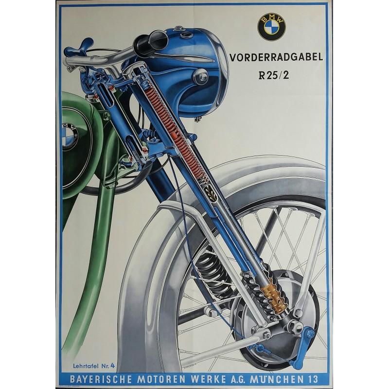Affiche ancienne originale moto BMW fourche avant de la R25-2 - SCHLENZIG