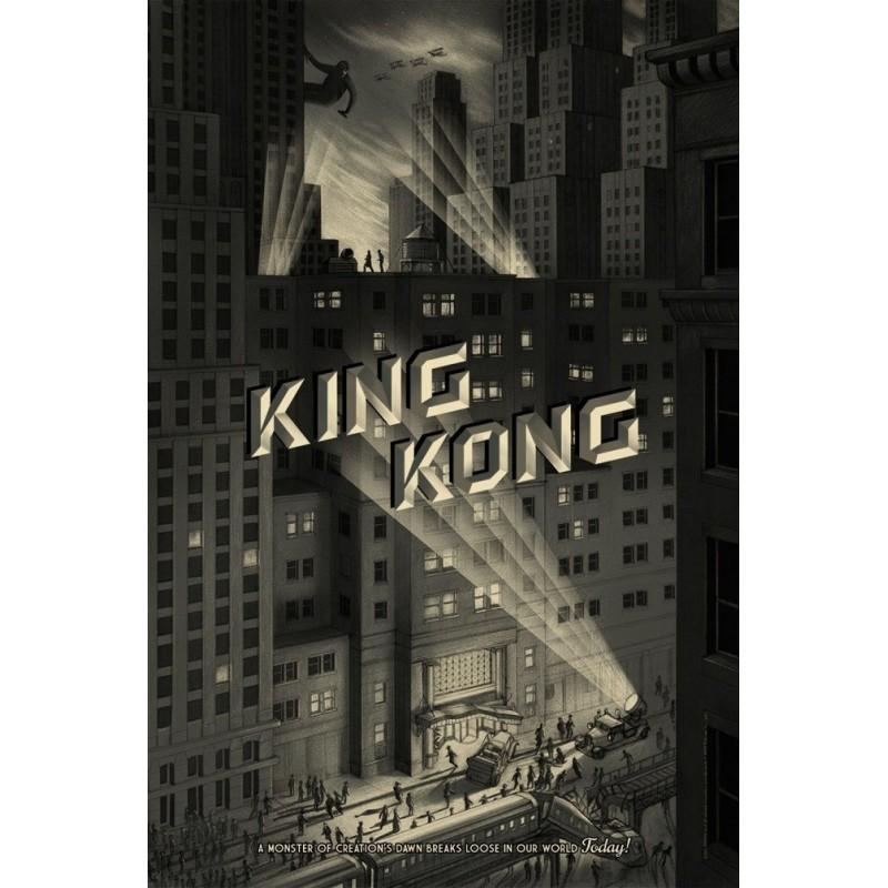 Original silkscreened poster limited edition King Kong city - Johnatan BURTON - Galerie Mondo