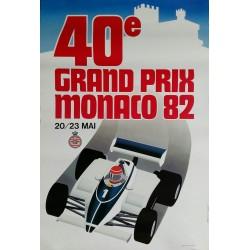 Affiche ancienne originale Grand Prix de Monaco 1982 - J GROGNET