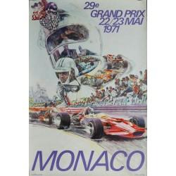 Affiche ancienne originale Grand Prix de Monaco 1971 - Steve CARPENTER