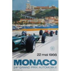 Affiche ancienne originale Grand Prix de Monaco F1 1966 - Michael TURNER