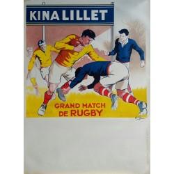 Affiche ancienne originale KINA LILLET Grand Match de Rugby jaune - André GALLAND