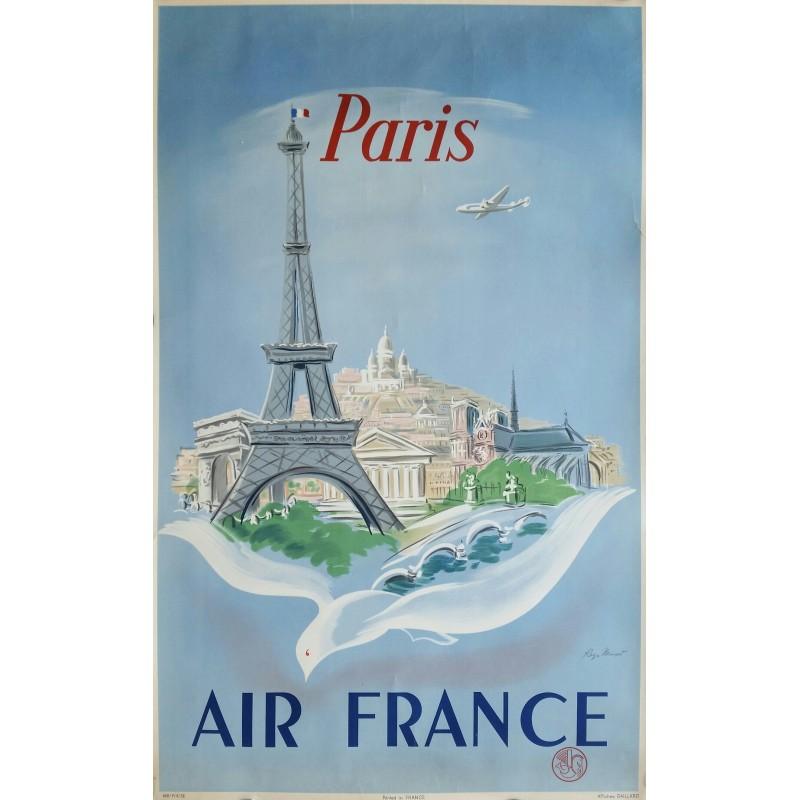 Affiche ancienne originale Air France Paris - Régis MANSET - Ref 668 / P / 4 / 52