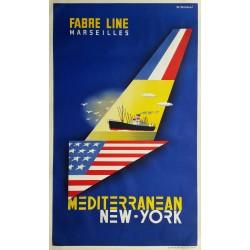 Affiche ancienne originale Fabre Lines Marseille Mediterranean New-York - J TONELLI