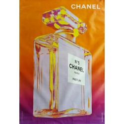 Affiche originale Chanel n° 5 orange et violet - 170 cms x 120 cms
