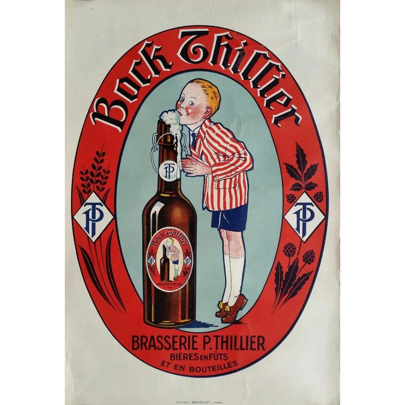 Affiche ancienne originale Bière Bock THILLIER Brasserie P. THILLIER