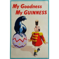 Affiche ancienne originale Bière My Godness my Guinness - WILK