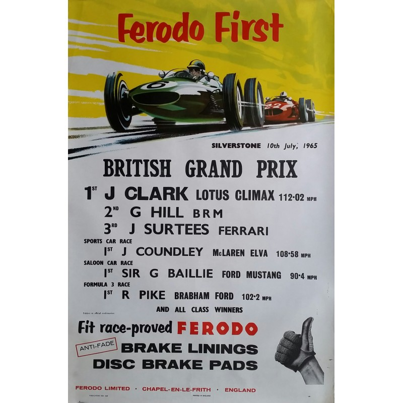 Affiche ancienne originale Ferodo first British Grand Prix Silverstone 10th July 1965