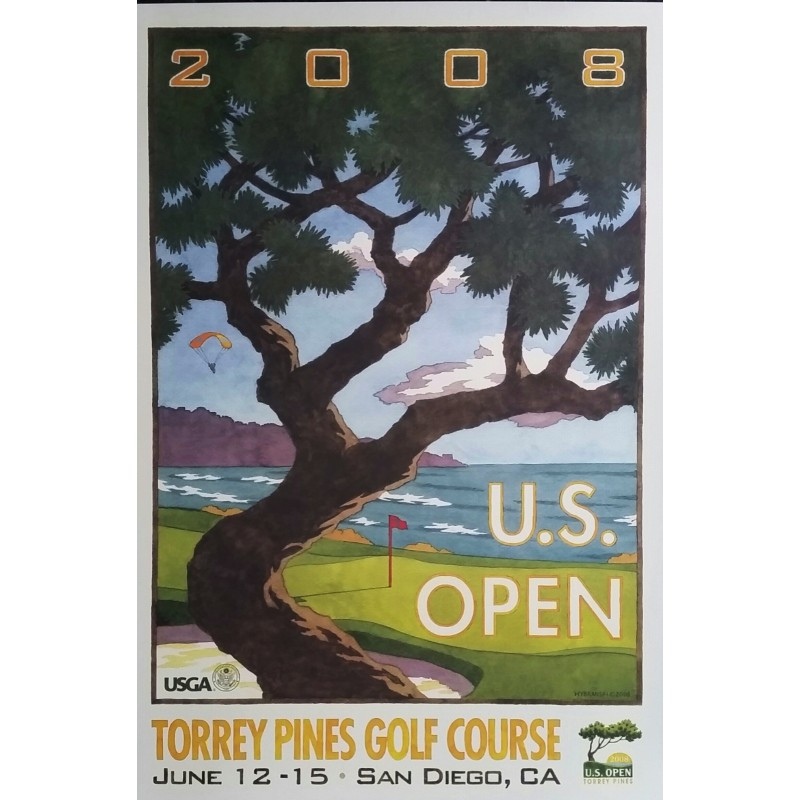 Affiche originale US Open Golf USGA Torrey Pines Golf course June 12-15 2008 - Lee Wybranski